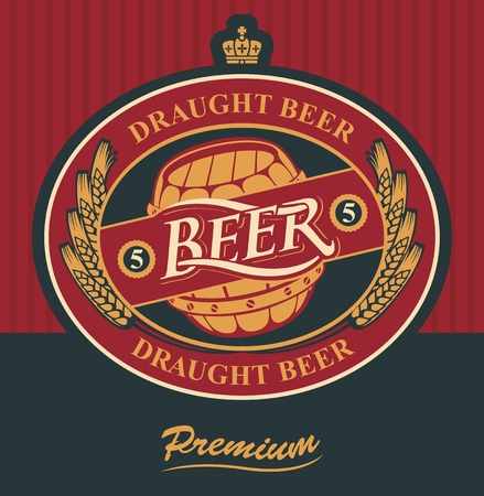 and draft beer: oval label for draft beer with ears of wheat