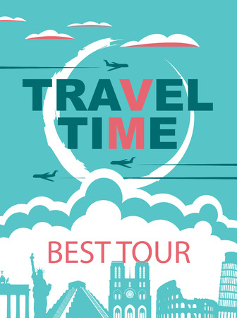 travel agencies: banner for travel agencies with the architectural and historical sights of an airplane