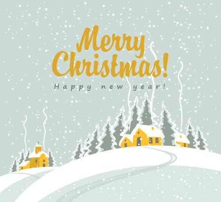 joyeux noel: paysage d'hiver avec le village et l'église dans les bois et l'inscription Joyeux Noël