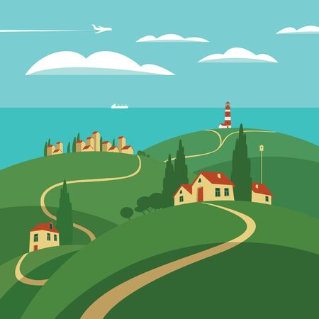 settlements: landscape with hills, roads and settlements, lighthouse and sea Illustration