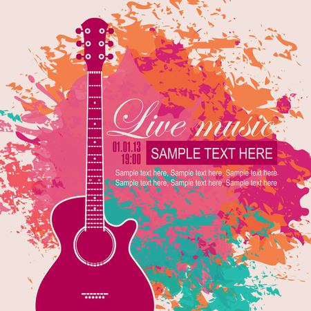 banner with an acoustic guitar on grungy color background