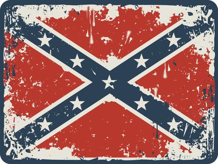 Confederate Rebel flag Grunge on a wooden board Illustration