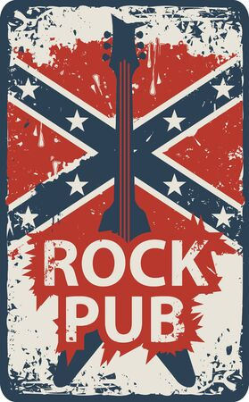 roll bar: Retro banner pub with rock music with a guitar and a Confederate flag Illustration