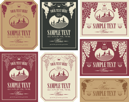 driveway: wine label set with a landscape of vineyards in retro style