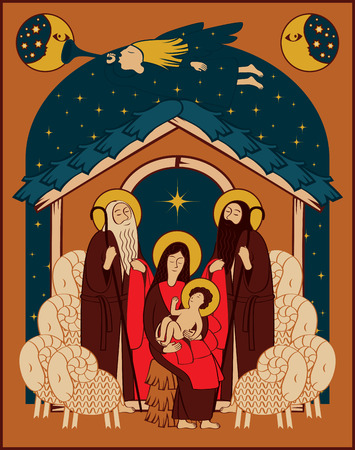 adoration: Adoration of the Magi. Holy Family and Christmas angel