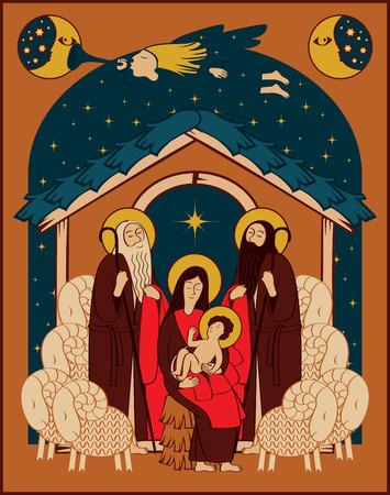christ the king: Adoration of the Magi. Holy Family and Christmas angel