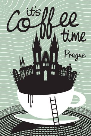 our company: Drawing with Prague in a cup of coffee Illustration