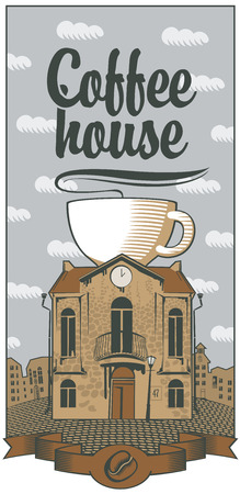 pavement: old house with a cup of coffee on the roof in the city