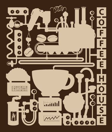 stove pipe: Vintage coffee house plant with conveyor coffee production Illustration