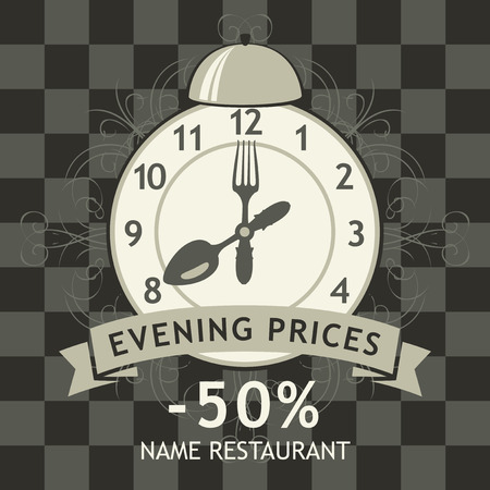 restaurant food: banner advertising discount evening in a restaurant with a clock and cutlery