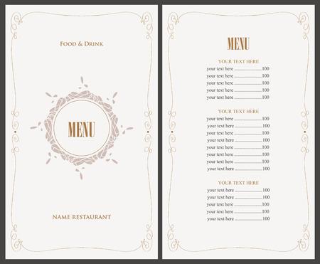 Menu per il ristorante in stile retrò