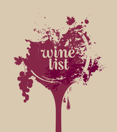 bottle wine: vector banner glass of wine with grapes with spots and splashes of Wine list Illustration