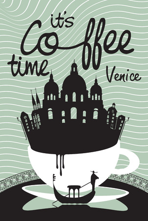 gondolier: Drawing with Venice in a cup of coffee