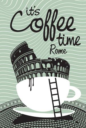 logotipo turismo: Dibujo con Roma Coliseo de una taza de caf�