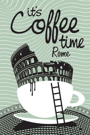 Drawing with Rome Colosseum in a cup of coffee Illustration