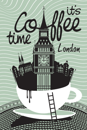 houses of parliament   london: Drawing with London and Big Ben in a cup of coffee