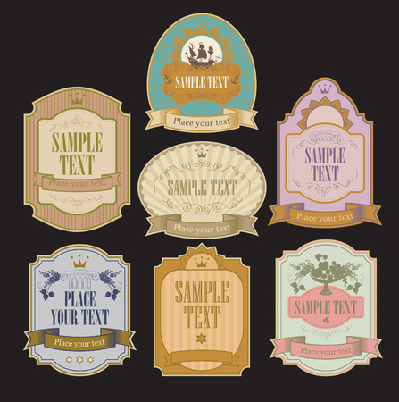 set of vector labels in retro style