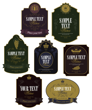 Set of vector labels on wine in retro style