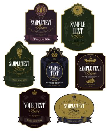 vinho: Jogo de etiquetas do vetor sobre o vinho no estilo retro