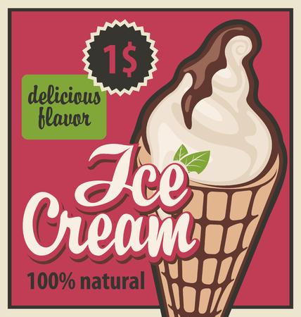 coiffer: bannière avec la crème glacée dans le style rétro