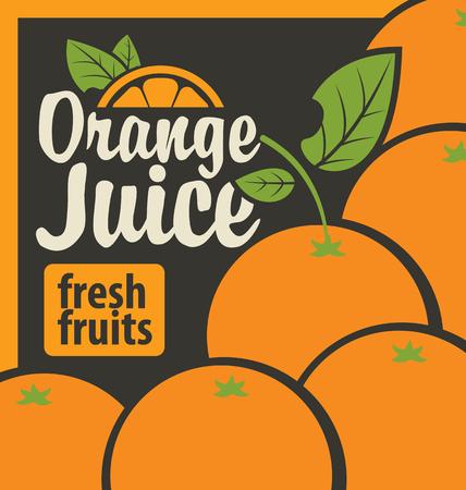 naranja: Bandera del vector con las naranjas y zumos frescos de inscripci�n