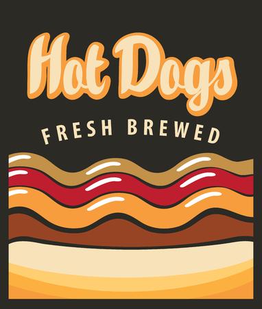 perro caliente: vector de la bandera con el perrito caliente en estilo retro