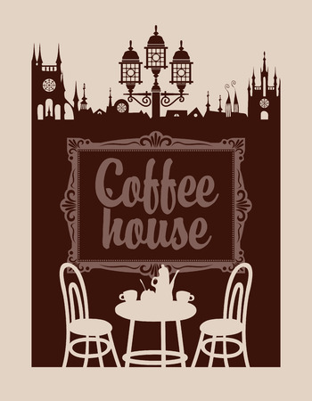 coffee house: menu for coffee house with picture frame and the old town