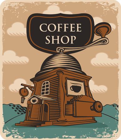 tarde de cafe: Bandera retra con la tienda de caf� molinillo de caf�