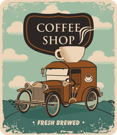 fresh brewed: retro banner with car and cup of coffee on roof