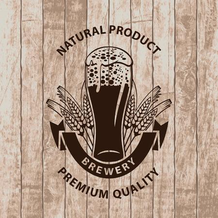 vaso de cerveza con una corona de trigo sobre un fondo de tablas de madera Ilustración de vector