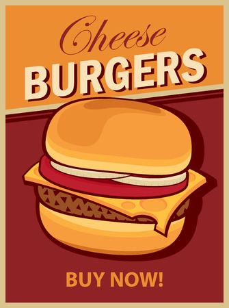 hamburgers: vector banner with cheeseburger on retro style Illustration