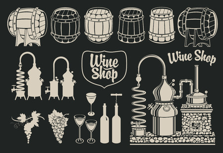 wine industry: set of drawings of objects on the topic of wine production and sales