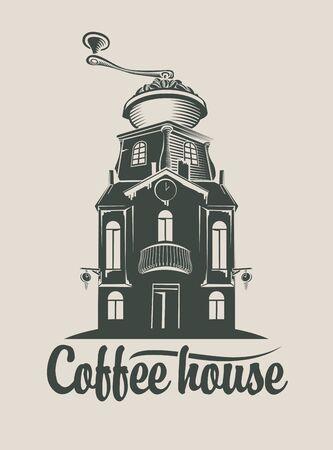 molinillo: Muestra de la casa de caf� con la amoladora en la azotea