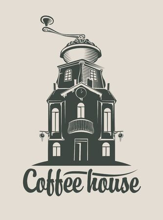 coffee house: sign coffee house with  grinder in roof