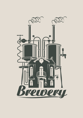 alcohol logo: sign for the brewery with a picture at home with barrels on the roof Illustration