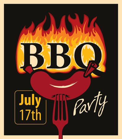 grill: Retro banner with sausage on a fork and an inscription in the fire BBQ