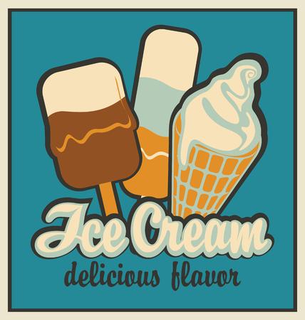 retro banner with ice cream Illustration