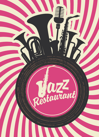 retro music: banner for jazz restaurant with wind instruments and vinyl record