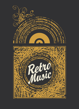 banner with the inscription retro music an old vinyl record Illustration