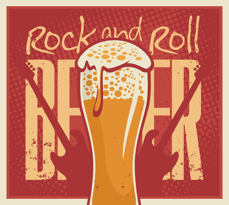 banner for the pub with live music with a beer and guitar Stock Illustratie