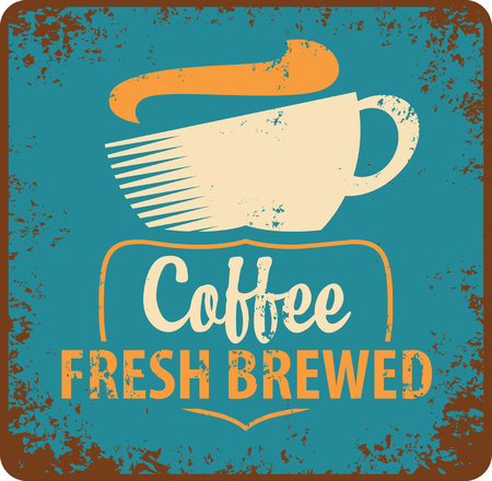 hot drink: banner with coffee cup in retro style