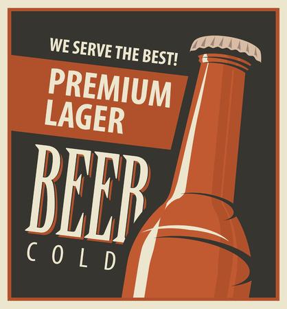 cerveza: vector de la bandera con la botella de cerveza en estilo retro