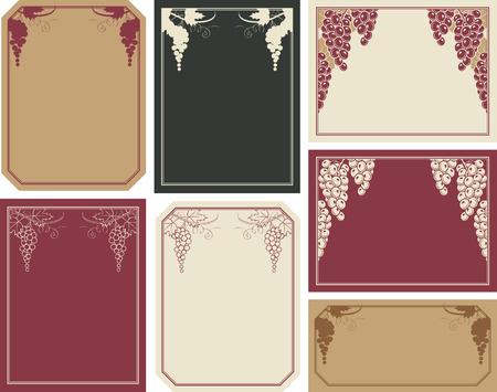 set of frames with grapes for wine labels Illustration