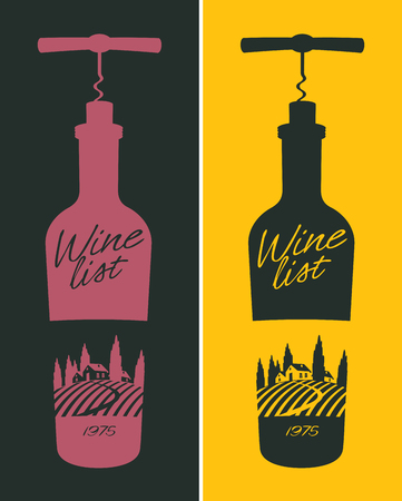 wine road: banners set with a bottle of wine and vineyard