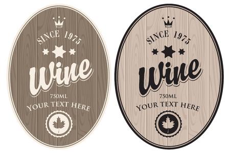 vintage leaf: set of vector labels wine for barrel against wooden planks Illustration