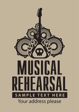 a rehearsal: poster for a musical rehearsal with loudspeakers and guitar