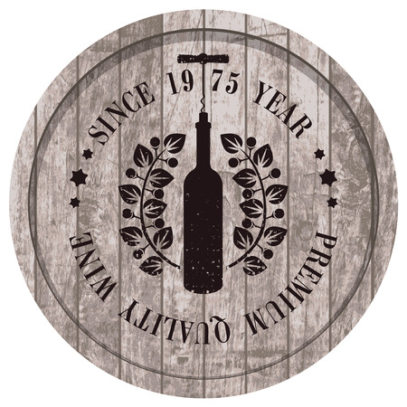 wooden barrel with a picture of the bottle of wine and a laurel wreath Illustration