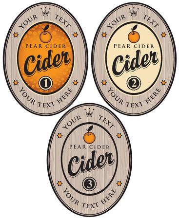 cider: set of labels for different types of cider Illustration