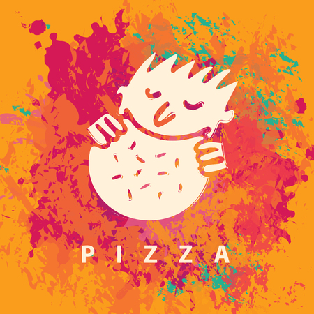 restaurante italiano: Banner de vectores con el pequeño hombre que come la pizza en un fondo de salpicaduras de colores Vectores