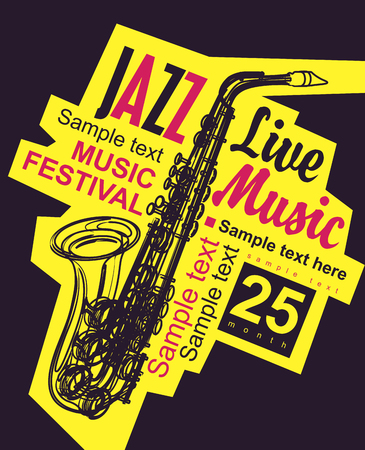 background music: poster for the jazz festival with a saxophone